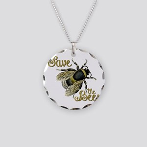Save Bees Necklace Circle Charm